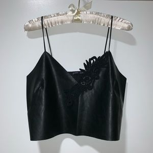 ZARA Collection Cropped Faux Leather Tank Top